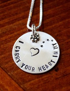 I Carry Your Heart In My Heart Necklace- Sterling Silver- Hand Stamped- Mother Daughter Gift- Memorial Necklace Tiny Necklace, Diamond Solitaire Necklace, Diamond Pendant Necklace, Circle Necklace, Metal Jewelry, Silver Jewelry, Jewelry Art, Silver Bracelets, Silver Earrings