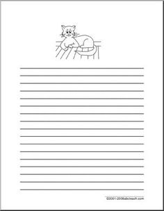 Writing Paper: Cat (Elementary) - Lined paper with an illustration of a cat at the top. (elementary) (20 pt. line, 1.25 spaces between lines)