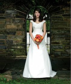 Simple Custom-made White Off the Shoulder Slight Ruched Satin Sweep Train Wedding Dress