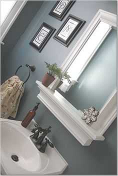 My next project with my dad is definitely framing out my builders mirror, and incorporating a shelf like this one.