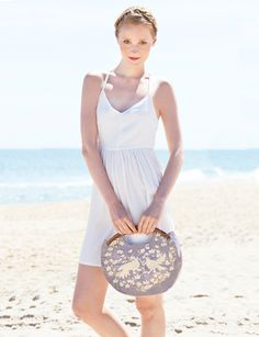 Raffia Woven Clutch with Mexican Embroidery and Hand Carved Wooden Handles, Frida in Dove