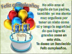 Resultado de imagen para frases de cumpleaños para mi nieto 14 Happy Birthday Son, Happy Birthday Celebration, Happy Birthday Flower, Birthday Cake, Spanish Birthday Cards, Bday Cards, God Loves Me, Day Wishes, Birthdays