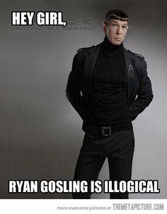 hahahahaha...but..but he's hotter than you, Spock, dear ;)