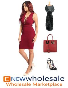 Sleeveless bodycon dress with PU leather straps crossed design on the front and back.  Zipper on the back to secure.   Content: 97% Polyester 3% Spandex Package of 3 pieces: 1S, 1M, 1L per color only. Made in USA  - See more at: http://enewwholesale.com/d-25w488-2clr.html#sthash.aWBYPxQ6.dpuf