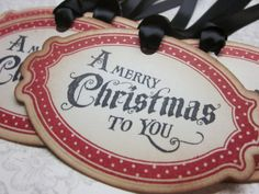 Christmas Tag - red and black