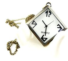 Quartet bronze pocket watch necklaceV79 by XsisterJewelry on Etsy, $8.99