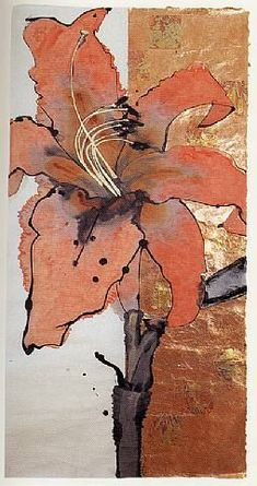 Artist: Robert Kushner Title: Day Lily Medium: Ink, acrylic, and metal leaf on… - Painting Media Abstract Flowers, Watercolor Flowers, Watercolor Art, Abstract Art, Arte Floral, Day Lilies, Botanical Art, Art Techniques, Love Art