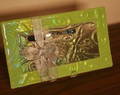 Fused Glass appetizer plate, clear iridescent glass, lime green border, with dragonfly impressions,