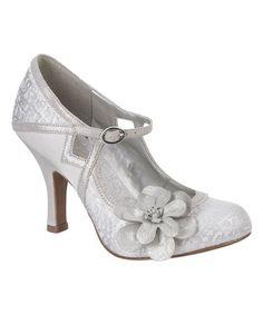 Look at this #zulilyfind! Silver Floral Lace Cindy Ankle-Strap Pump #zulilyfinds