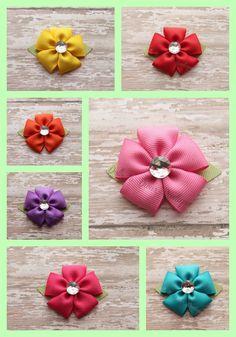 Infant Ribbon Flower Clip - Small Handmade Ribbon Petal Flower Bow - Choose from…