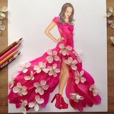 Dress made with two different flowers.   By Edgar Artis