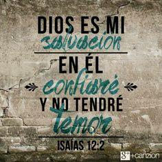 Isaías 12:2 He aquí Dios es salvación mía; me aseguraré y no temeré; porque mi fortaleza y mi canción es JAH Jehová, quien ha sido salvación para mí.