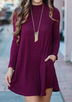 Red Plain Pockets Round Neck Loose Casual Midi Dress