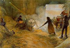 """Threshing Grain"", Watercolour by Carl Larsson (1853-1919, Sweden)"