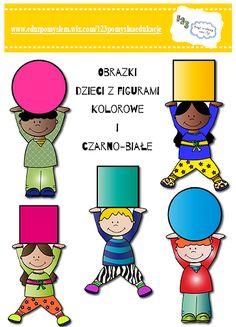 Obrazki dzieci z figurami kolorowe i czarno-białe Freeee