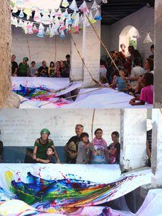 dondecabentres.com  HI HA AIGUA ESTESA// INSTALACIÓN EFIMERA PARTICIPATIVA  Cuándo: 2012 Dónde: Caldes de Montbui Organización: MIAU (Mostra Independent d'Art Urbà)