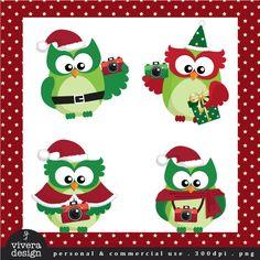 Digital Clip Art - The Christmas Owls with Cameras