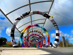 Bike Rack Yarn Bomb for Art In The City