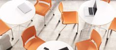 Rio multipurpose chairs, tangerine shell, sliver frame finish, armless, casters - common area