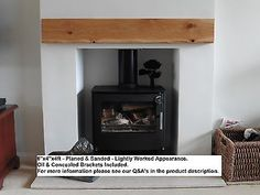 Solid Oak Beam Floating Mantle Piece Wood Fireplace Surround Shelf Log Burner.