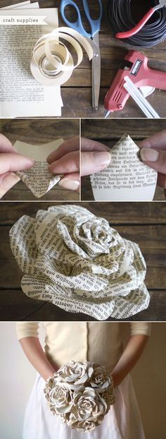 Storybook Paper Roses bouquet. It would killlll me to rip apart a book for this, but this is SUCH a cool idea cost effective. Smaller ones can be made for the bridesmaids. My only concern is if the ink rubs off on the dress.   shareao