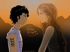 """Leo and Echo by MARIAMUMMIER on deviantART. """"He was determined never to forget Echo's face. She deserved at least one person who saw her and knew how good she was"""" (Mark of Athena). Leo Valdez, Percy Jackson Books, Percy Jackson Fandom, Oncle Rick, Mark Of Athena, Roman, Team Leo, Tio Rick, Trials Of Apollo"""