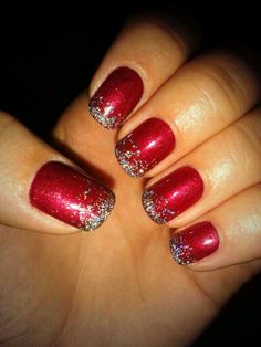 Christmas Nails! Red shellac with gradient silver sparkles #nails