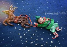 Newborn baby boy in elf costume flying hanging behind reindeer. Christmas Rudolf funny hilarious cute adorable baby scene Baby ImaginArt Precious Baby Photography Angela Forker unique Fort Wayne New Haven Indiana Baby Christmas Photos, Funny Christmas Pictures, Baby Boy Pictures, Newborn Pictures, Monthly Baby Photos, Monthly Pictures, Foto Baby, Newborn Baby Photography, Baby Art