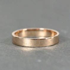 $266  18K Rose Gold 3x1mm Flat Edge Ring, Solid Gold Wedding Band, Recycled Metals, Eco-Friendly, Sea Babe Jewelry