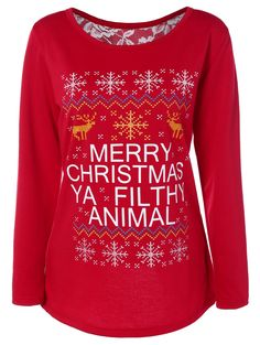 $16.73 Back Slit Merry Christmas Print Sweatshirt