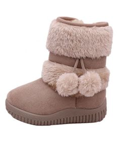 EINCcm Babys Girls Cute Flat Shoes Pom Pom Winter Warm Snow Boots Booties Snow Infant Toddler Newborn Soft Warming Shoes
