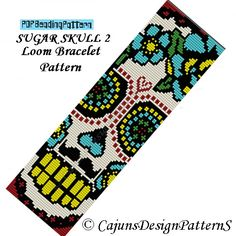 SUGAR SKULL 2-LOOM --Dia de los Muertos-Day of the Dead Beaded Bracelet-Cuff Pattern-Instant Download-Halloween-