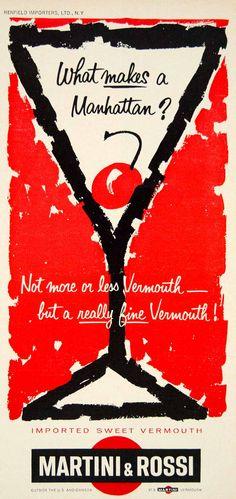 1963 Ad Martini & Rossi Vermouth Wine Alcohol Beverage Manhattan Cherry Imported #vintage #martini