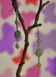 Green Flower and Bead Handmade Earrings