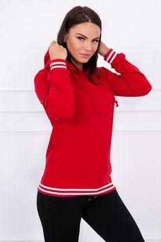 Červená dámska mikina s ozdobným zipsom 21d5ecd98f6