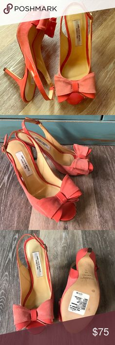 SAKS FIFTH AVENUE BOW HEEL PUMPS NEW SAKS FIFTH AVENUE MADE IN ITALY BIG BOW PUMPS-6.5B. PEACH COLOR; suede/patent leather. Saks Fifth Avenue Shoes Heels