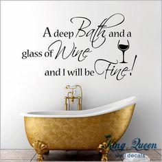 Głębokie kąpieli i kieliszek wina, Produkty łazienkowe naklejki ścienne winylowe naklejki wystrój domu stikers na ścianie dekoracji wysokiej jakości