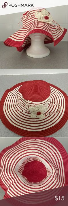 "Women's stripe floppy hat with flower Red and white stripes foldable floppy sun hat with flower. NWOT. Brim is 4.5"". Head circumference is 58cm (one size fits most). Accessories Hats"
