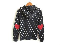 Heart on My Sleeve - Hand STENCILED Eco Heather Elbow Patch Zip Hoodie Sweatshirt in Black and White Polkadot - S M L XL