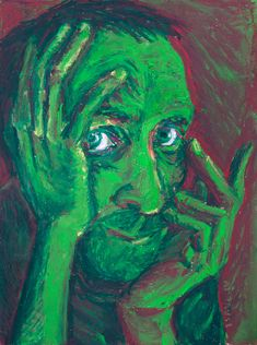 self-portrait, Isaac Hernandez, oil pastel, green, red, Santa Barbara