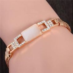 985f9ea1d Gold Color Jewlery Round Cut Austrian Crystal Square Opal Bracelet For  Women Gift