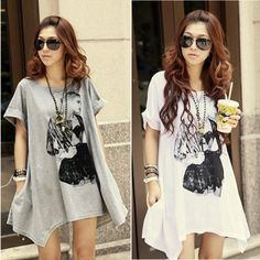 Cheap shirt cardigan, Buy Quality blouse dress directly from China blouse wearing Suppliers: New 2014 Korean Style Women Fashion Beauty Print Loose Long T-shirt Tops Blouse Plus Size t shirt Features: Gender:&n
