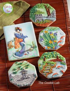 The Cookie Lab: Japanese Garden and Geisha decorated cookies / royal icing cookie art Fancy Cookies, Iced Cookies, Royal Icing Cookies, Cookies Et Biscuits, Cupcake Cookies, Sugar Cookies, Cupcakes, Japanese Cookies, Iced Biscuits