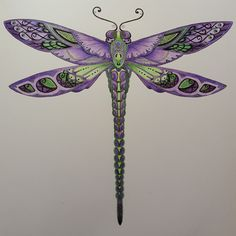 By Jennifer Noelle - Johanna Basford Dragonfly Tattoo Design, Dragonfly Art, Tattoo Designs, Dragonfly Drawing, Neue Tattoos, Body Art Tattoos, I Tattoo, Johanna Basford Coloring Book, Enchanted Forest Coloring Book