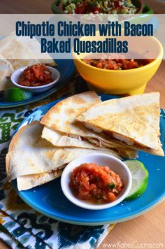 Chipotle Chicken with Bacon Baked Quesadillas using Cabot Cheese Tasty Dishes, Food Dishes, Main Dishes, Entree Recipes, Mexican Food Recipes, Quesadillas, Delicious Dinner Recipes, Yummy Recipes, Cabot Cheese
