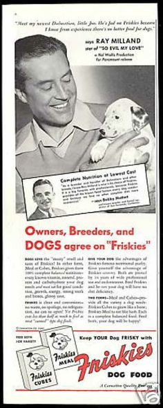 Ray Milland Photo Dalmatian Friskies Dog Food (1948)