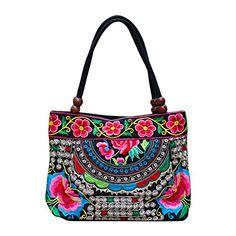 Hrph Flor bordada tendencia nacional hecha a mano de las mujeres hizo frente al lienzo bordado Bolsas étnicas bolso