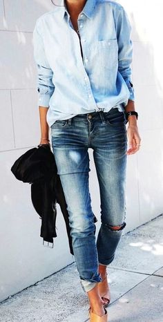 summer outfits Chambray Shirt + Destroyed Jeans