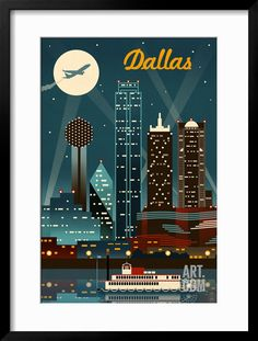 Dallas, Texas - Retro Skyline Art Print by Lantern Press at Art.com