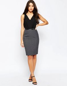 485241f28436ad ShopStyle Collective High Waisted Pencil Skirt, Grey Pencil Skirt, Gray  Skirt, Pencil Skirts